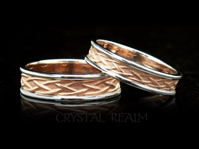 Celtic wedding bands in weave design with contrasting trim, 14k rose and white gold