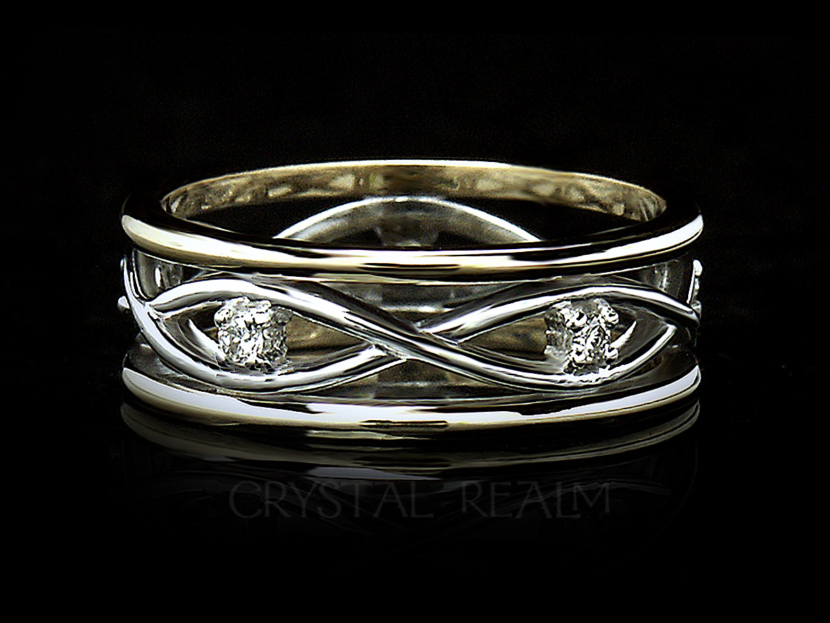 Ladies celtic wedding band with diamonds and 14k yellow and white gold