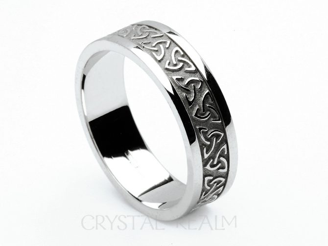 Celtic Wedding Bands: Trinity Knot Ring with Block Trim, 14K White Gold