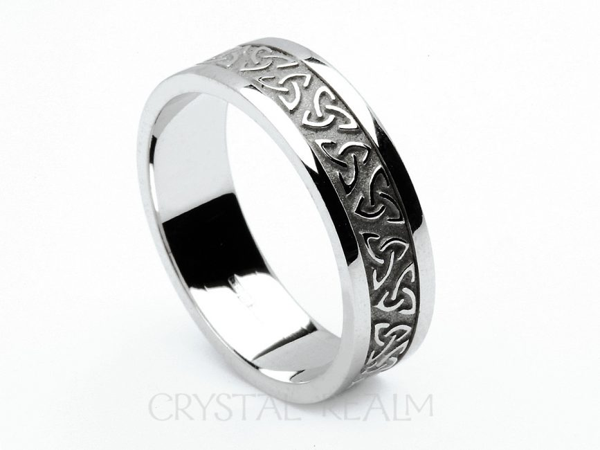 Celtic Wedding Bands Trinity Knot Ring With Block Trim 14k White Gold