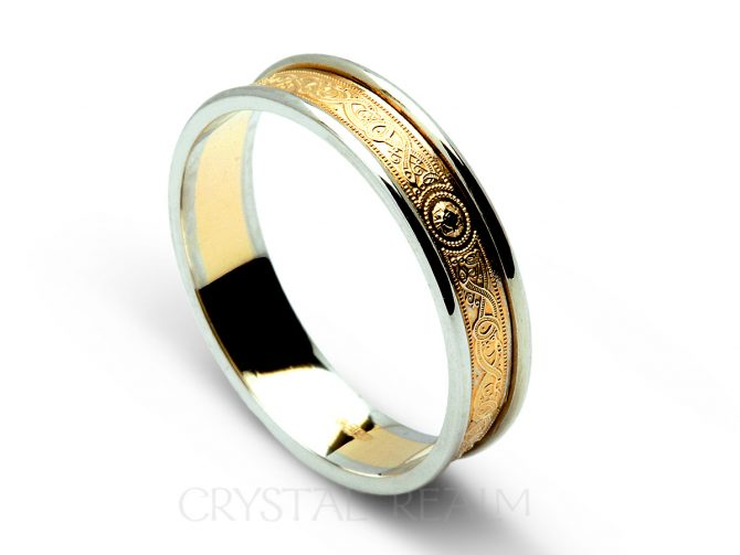 Celtic Wedding Band: Shield Band, 14K Yellow & White Gold (Sizes 4 - 12.5)