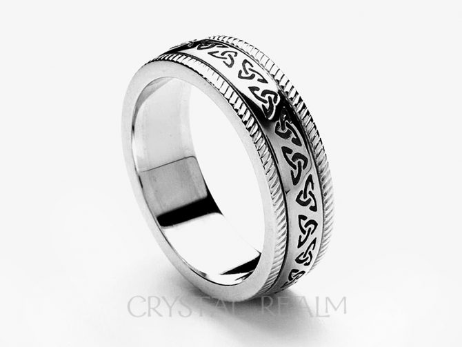 Celtic Trinity Knot Band with Beaded Trim, 14K White Gold