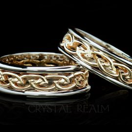 Women's Celtic Open Flowing Eternal Knot Band, 14K Yellow Gold & 14K White Gold Trim