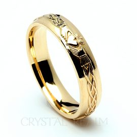 14K yellow gold Irish Celtic claddagh ring