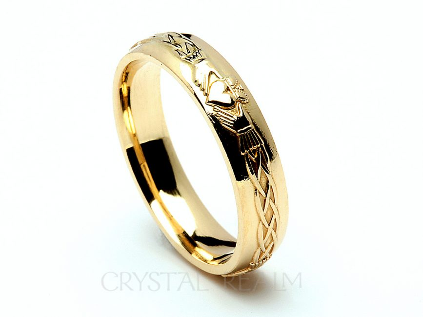 puzzle gold irish trunk ring yellow claddagh s u size celtic wedding rings sale