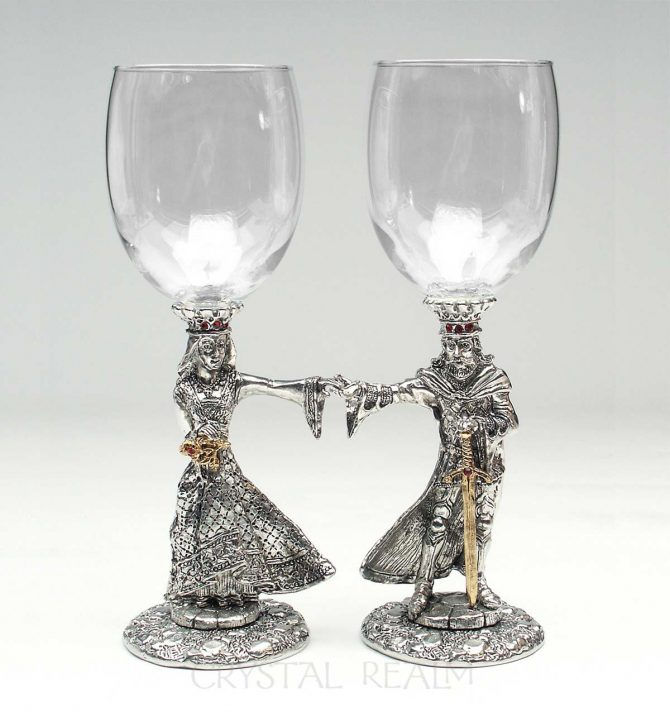 Arthur and Guinevere toasting glasses