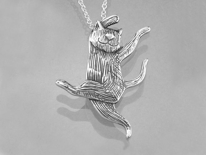 Dancing Cat Sterling Silver Necklace