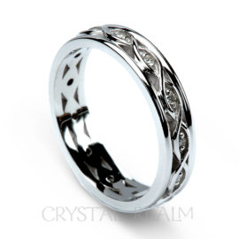 irish celtic wedding band with diamonds