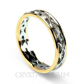 Celtic diamond wedding band in 14k white and yellow gold