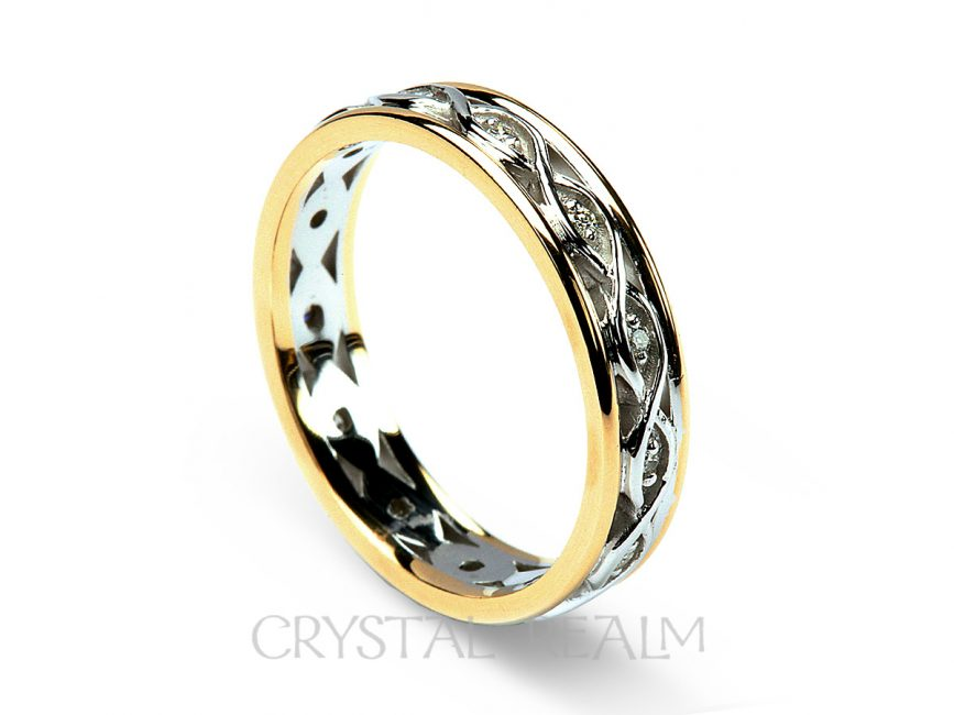 White Gold Wedding Band.Celtic Wedding Ring Women S Ribbon Weave Band 14k White And Yellow Gold With Diamonds
