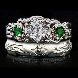 Guinevere royale diamond and emerald puzzle ring with Celtic claddagh wedding band
