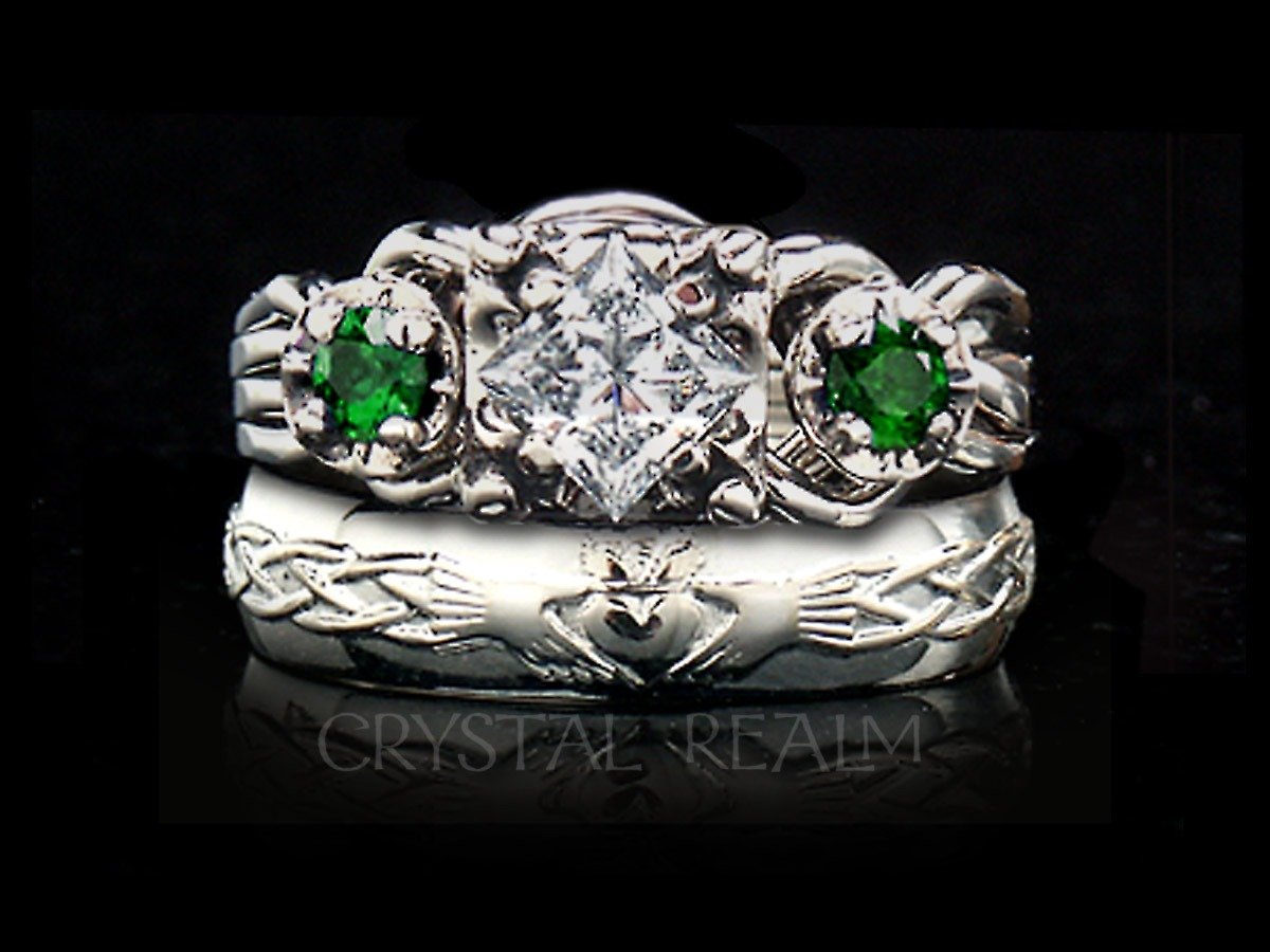 knot affordable online bands set bezel with band prices heart wedding claddagh emerald rings contheartclad htm cladbands continuous