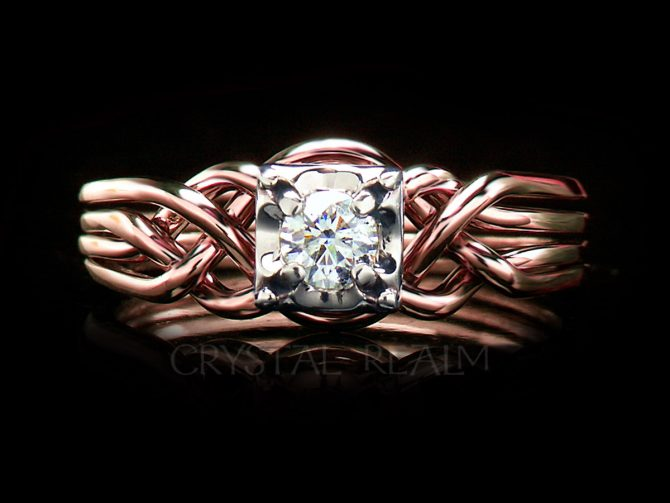 Guinevere Diamond Engagement Puzzle Ring with 1/4CT or 1/3CT Diamond