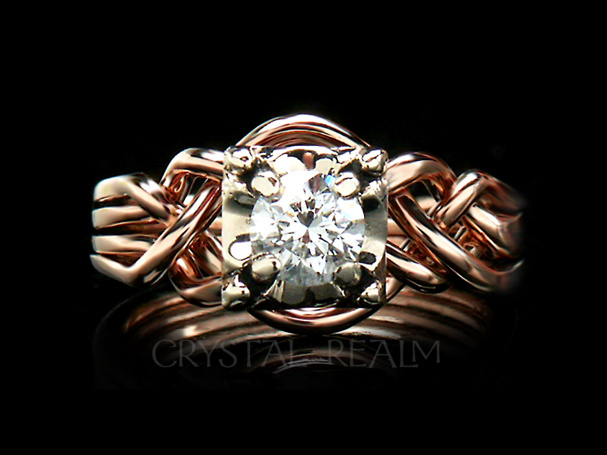 Four piece puzzle ring with round diamond