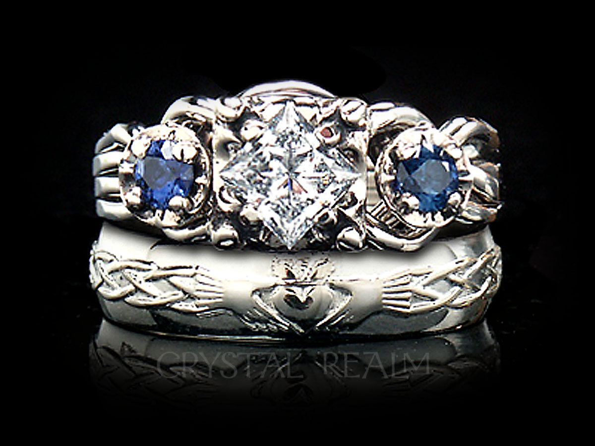 Guinevere royale diamond and sapphire 4 piece puzzle ring is paired with a Celtic claddagh wedding ring