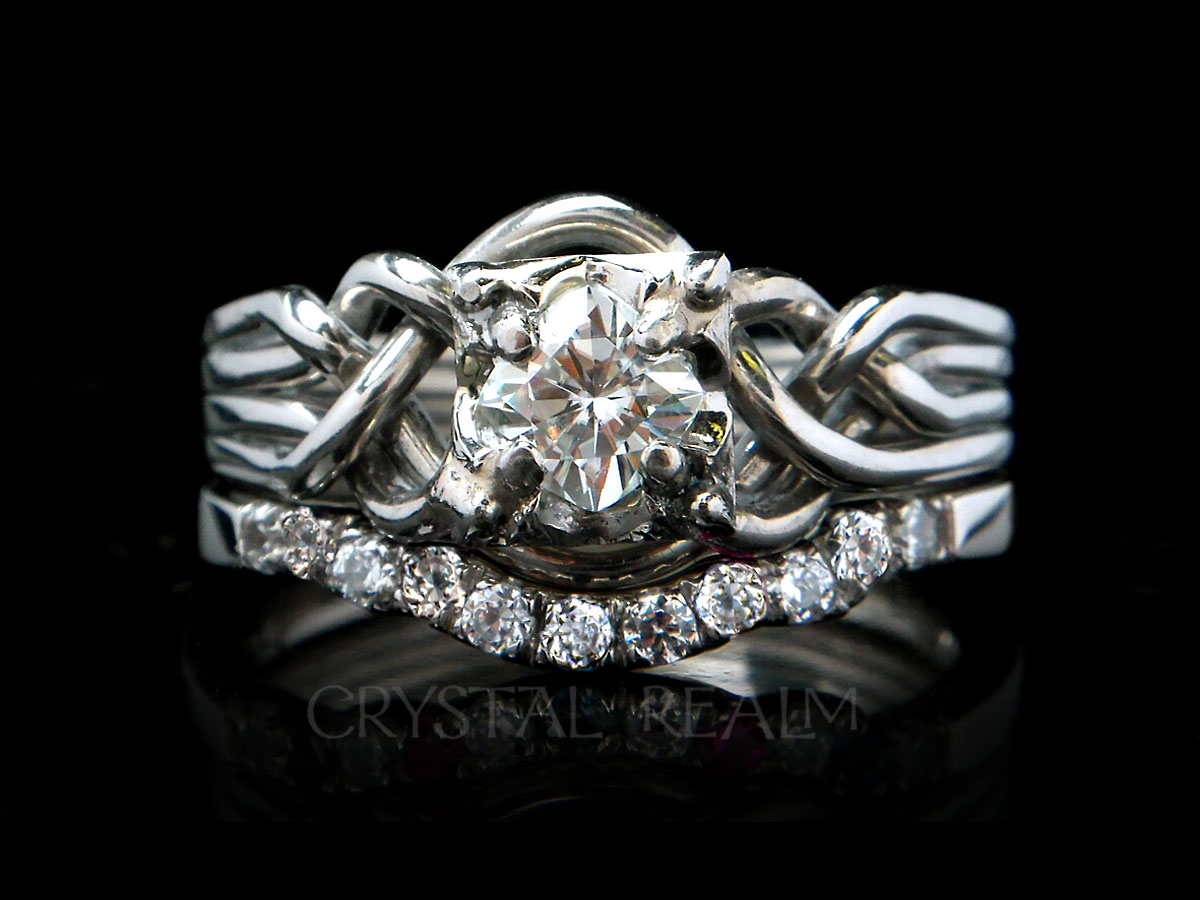 Four piece puzzle ring with princess cut diamond and 11-diamond shadow wedding ring