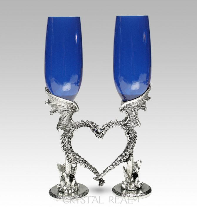 Royal Blue Champagne Flutes - Dragon Heart