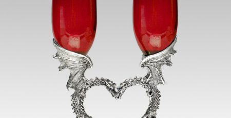dragon heart toasting flutes in ruby red