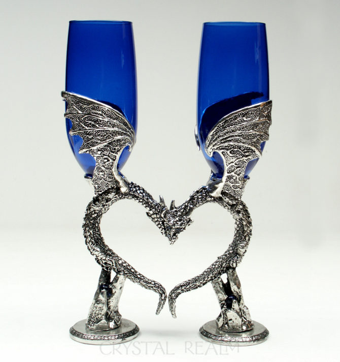 Dragon wing heart champagne flutes with Austrian crystals