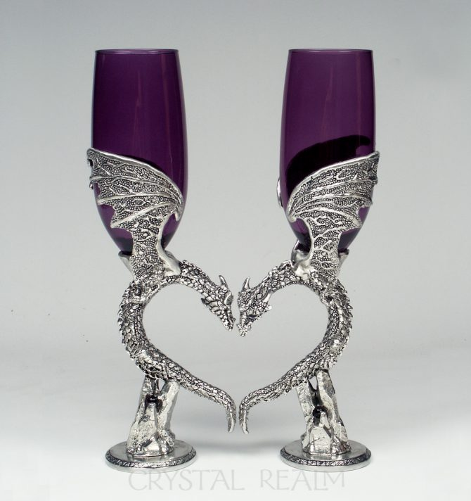purple dragon heart champagne glasses