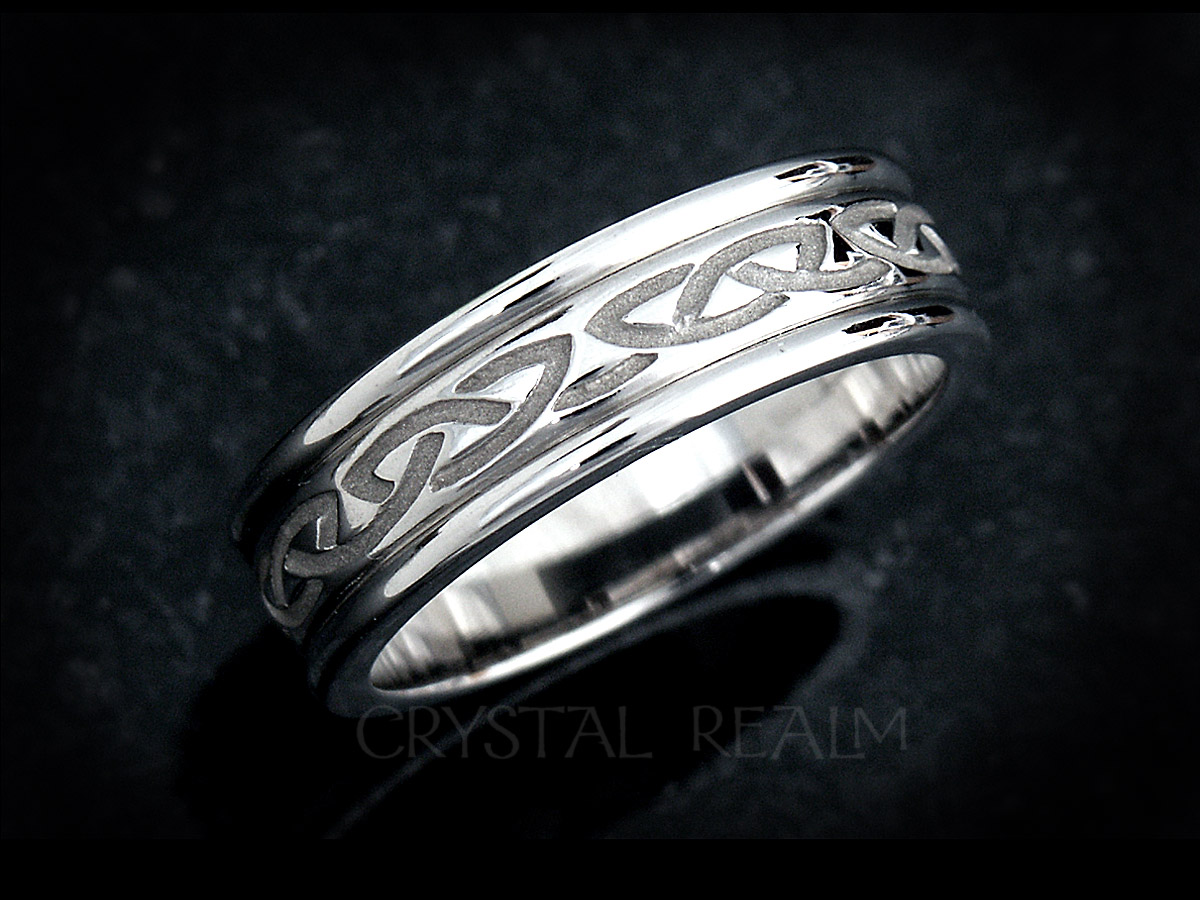 Celtic Wedding Ring Recessed Eternal Celtic Knot Band Palladium