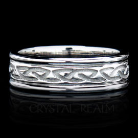 Celtic Wedding Ring: Recessed Eternal Celtic Knot Band, 14K White Gold
