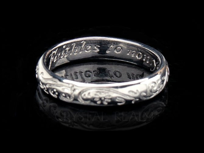 Faithful to One, Traditional English Posy Ring, Platinum