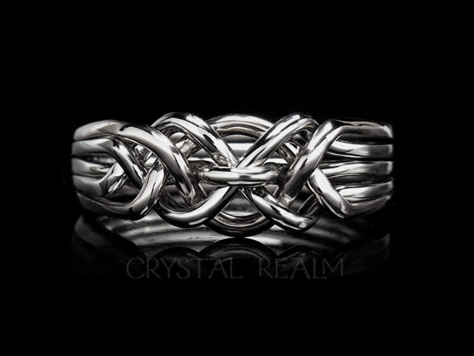 Hand-Woven, Eastbourne Five-Loop Puzzle Ring, Medium Weight, Sterling Silver