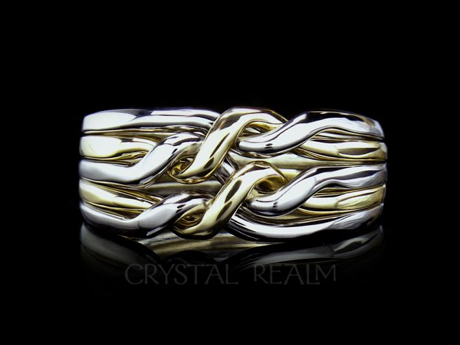 Cheshire Five-Band, Medium-Heavy, Chain Puzzle Ring, Sterling Silver and 14K Yellow Gold