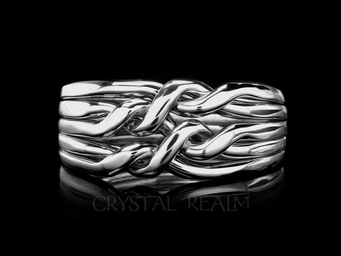 Cheshire Five-Band Chain Puzzle Ring, Medium-Heavy Weight, Sterling Silver