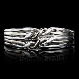 five band puzzle ring chain style medium weight white
