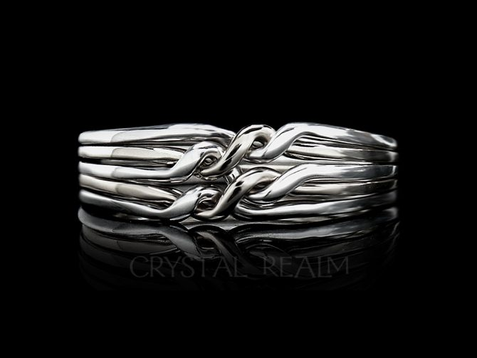 Cheshire Five-Band Chain Puzzle Ring - Very Narrow Ring, Medium Weight, Sterling Silver