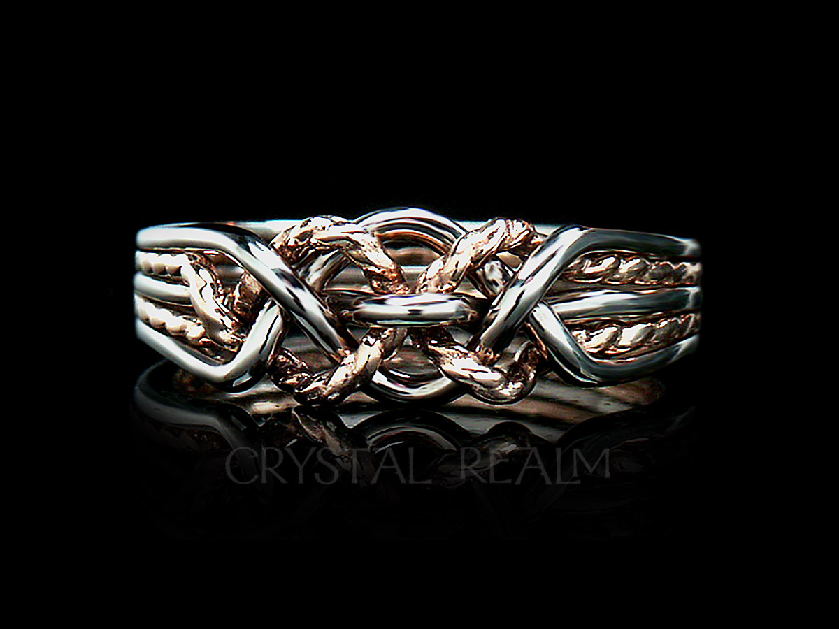 5 piece puzzle ring with twisted 14k rose gold 'x' in a medium weight is a difficult puzzle