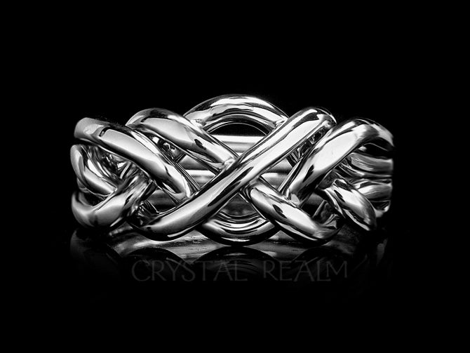 Saratoga Four-Band Puzzle Ring, Heavy Weight, Sterling Silver
