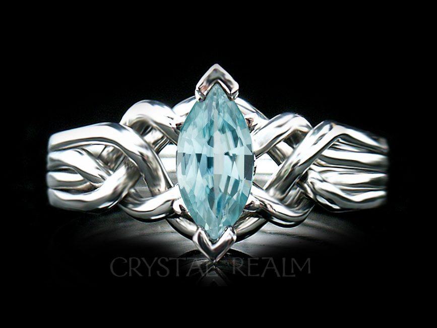 marquise aquamarine 4 piece puzzle ring in your choice of precious metals