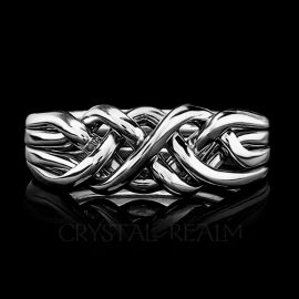 Chatham Four-Band Puzzle Ring, Medium-Heavy Weight, Sterling Silver