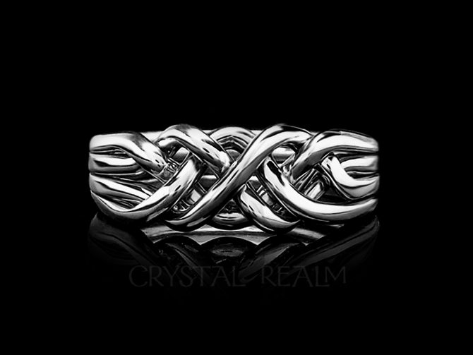 Chatham Four-Band Puzzle Ring, Medium-Heavy Weight, Tight Weave, 14K White Gold