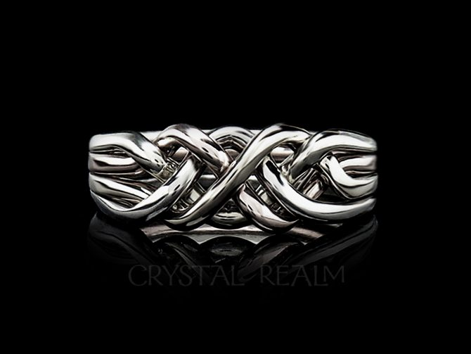 Chatham Four-Band Puzzle Ring, Medium-Heavy Weight, Tight Weave in 14K White Gold