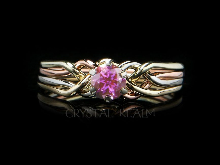 4 piece puzzle ring with October birthstone pink tourmaline in four colors 14k gold