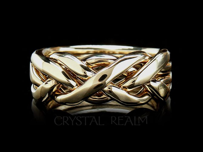 4 band puzzle ring for men in ultra-heavy weight 14k yellow gold