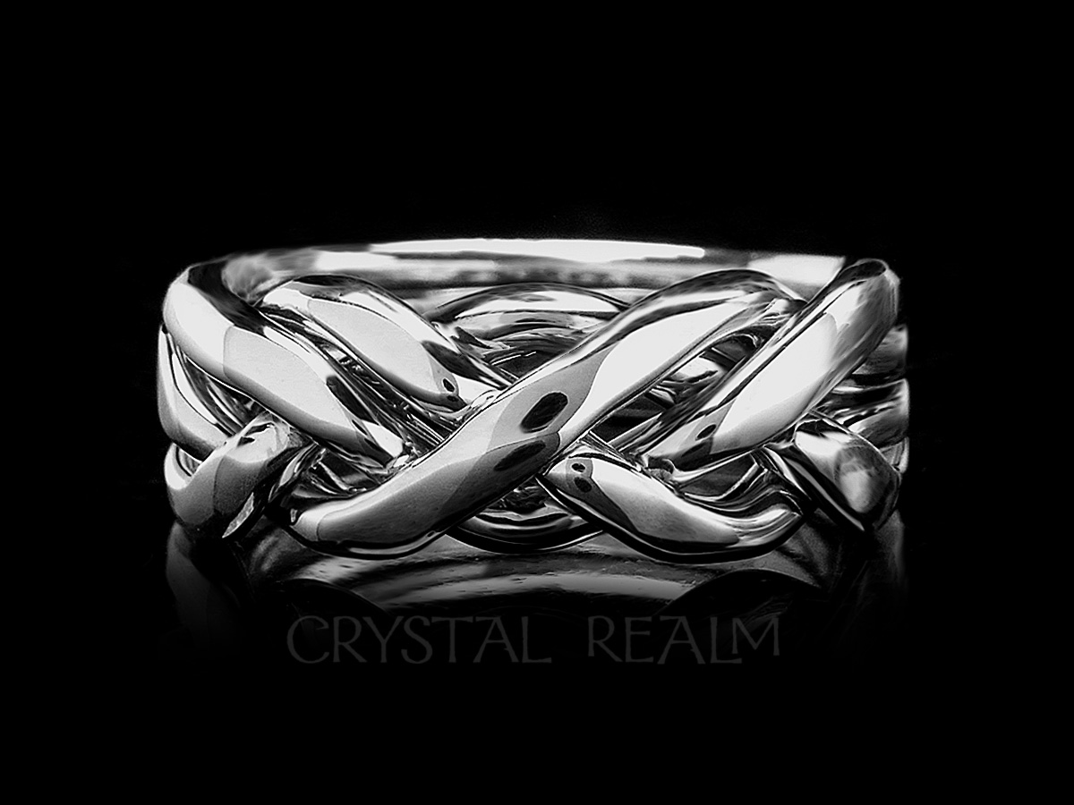 Men's four band puzzle ring in ultra-heavy weight sterling silver