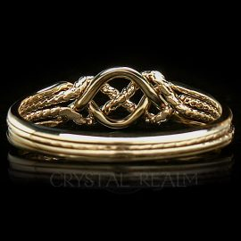 Brittany 4 Band Puzzle Ring, Light Weight, 14K Yellow Gold with Twisted 'X'