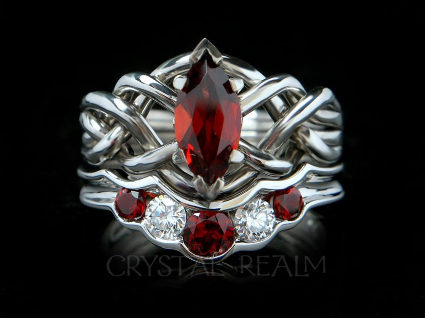 Four Piece Puzzle Ring Bridal Set With One Carat Marquise Garnet And Wedding Garnets