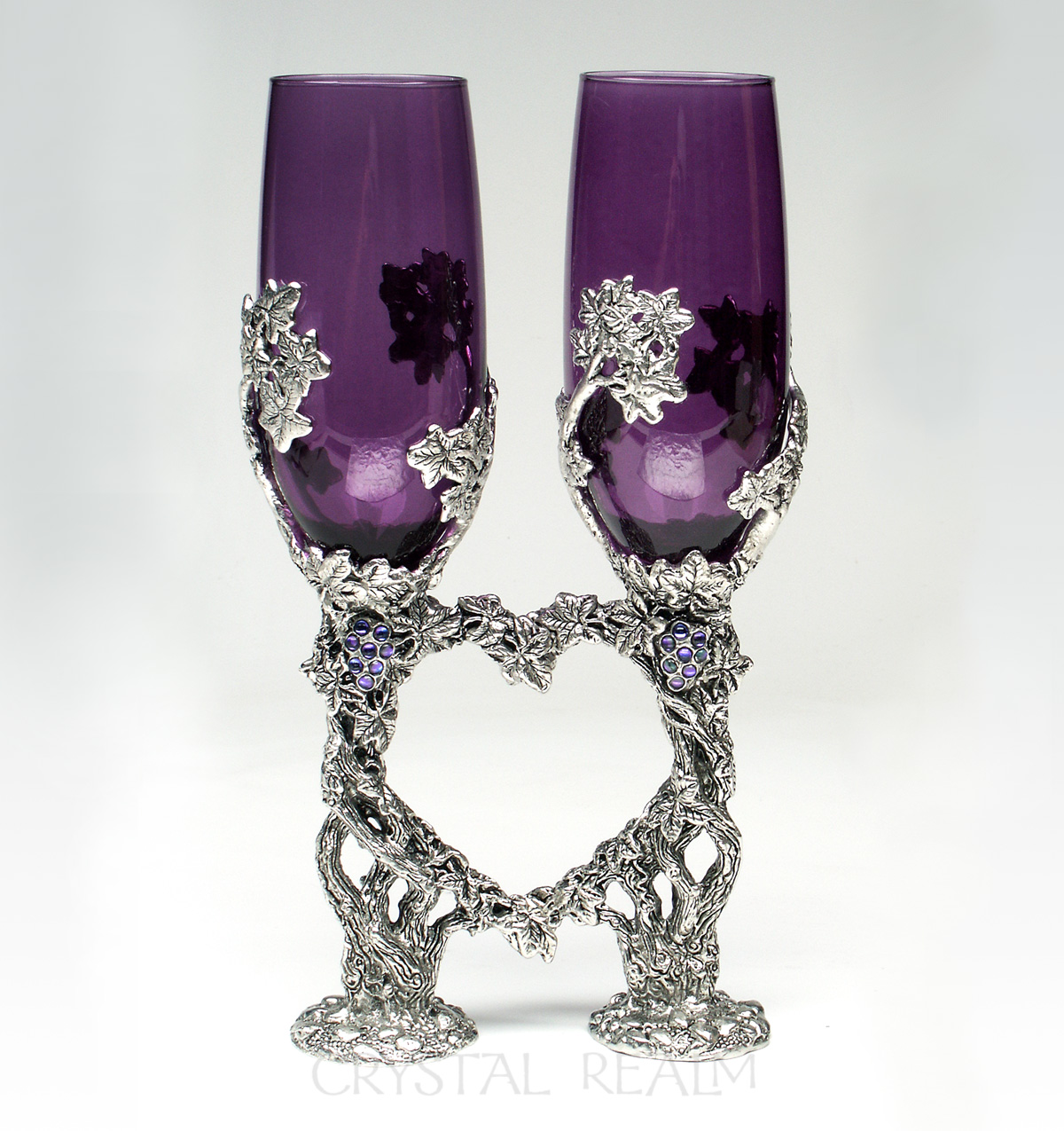 Purple toasting flutes with grapevine stems and Austrian crystal grapes