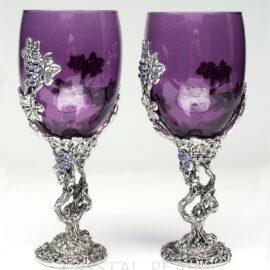 grapevine heart purple wine glass or communion goblet