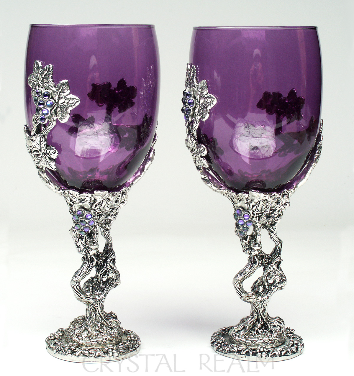 grapevine heart purple wine glass or communion goblet