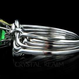 Four band puzzle ring with marquise green garnet and custom fit 2mm shadow band