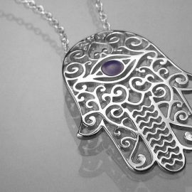 hamsa healing hand necklace sterling silver fm07n