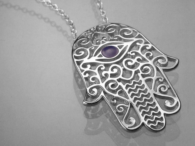 Sterling Silver Necklace: Hamsa Protection Necklace