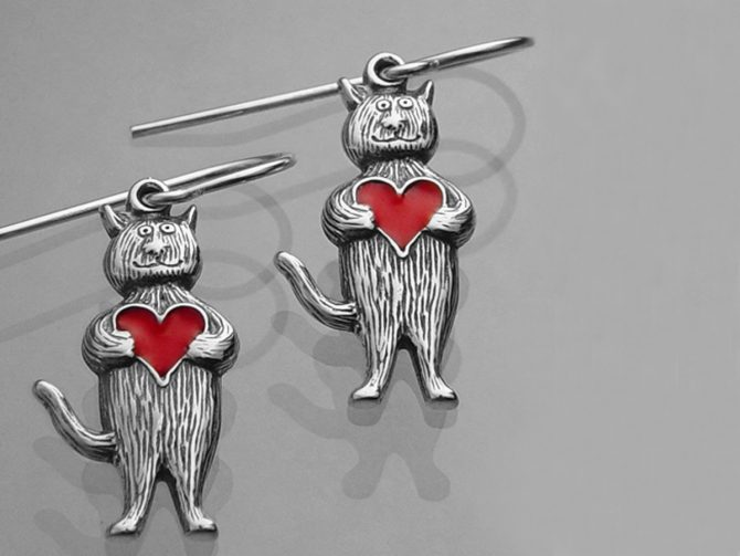 Whimsical Cat Heart Earrings by Edward Gorey